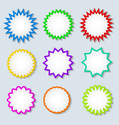 Starburst color speech bubbles with shadow on vector