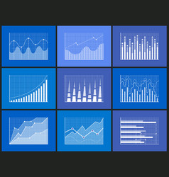 Statistical and analytical monochrome graphics set vector