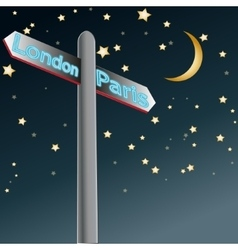 Street sign showing cities - london paris sample vector