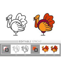 thanksgiving day turkey line icon editable stroke vector image