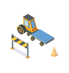 tractor working machinery and road signs icons vector image