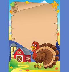 turkey bird theme parchment 1 vector image