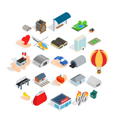 urban infrastructure icons set isometric style vector image