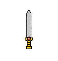 video game sword medieval weapon protection vector image