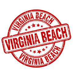Virginia beach red grunge round vintage rubber vector