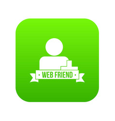web friends icon green vector image