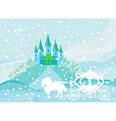 Winter landscape with castle and beautiful vector image