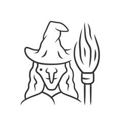 Witch linear icon thin line wicked sorceress hag vector
