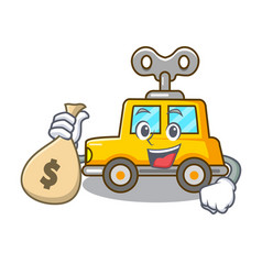 with money bag character clockwork car for toy vector image