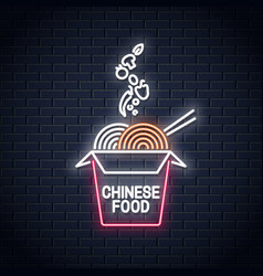 wok noodles neon logo chinese take out box vector image