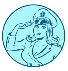 woman captain a sea ship vector image