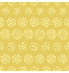 Yellow mustard abstract mandalas striped seamless vector