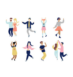 young dancing tiny stylish people set vector image