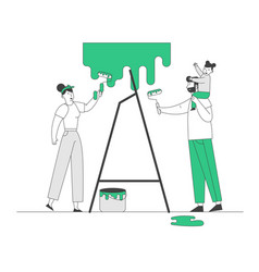young family make repair at home happy father vector image