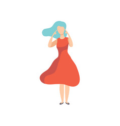 young woman in red dress thinking or making vector image