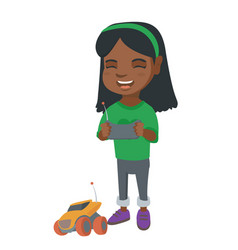 african girl playing with a radio-controlled car vector image vector image