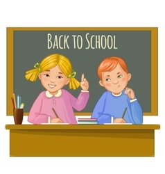 Boy and girl at the desk near blackboard vector image vector image
