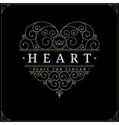 Heart vintage luxury logo template vector image vector image