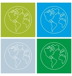 Planet Earth sign set isolated on white background vector image vector image