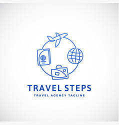 travel steps abstract sign emblem or logo vector image