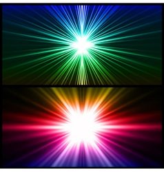 Colorful rays of light Two background vector image