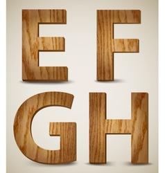 Grunge Wooden Alphabet Letters E F G H vector image