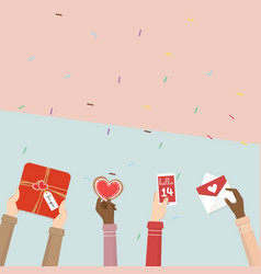 hand holding gift of valentines day vector image