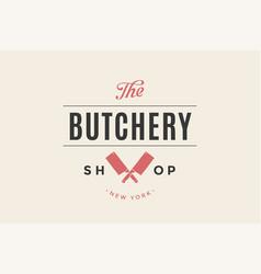label of butchery meat shop vector image