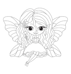 Outlined of an adorable fairy vector image vector image