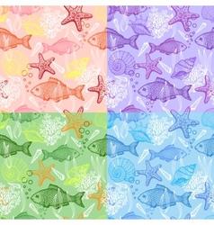 Set of sea hand drawn seamless pattern vector image vector image