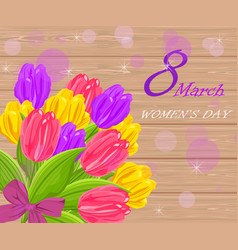 vintage women day card with tulip flowers bouquet vector image vector image