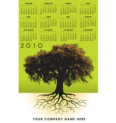 2010 trees roots calendar vector image vector image