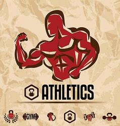 athletics gym labels vintage fitness emblems vector image vector image