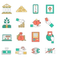 Banking business icons set vector