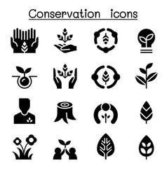 eco friendly conservation icon set graphic design vector image