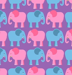 Elephants seamless pattern Blue and pink animals vector image vector image