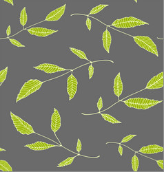floral seamless pattern background green on grey vector image