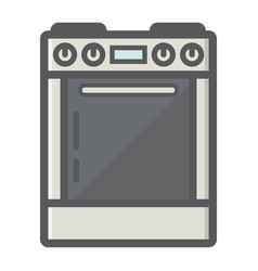 Gas stove colorful line icon kitchen appliance vector