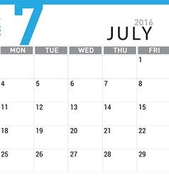planning calendar July 2016 vector image
