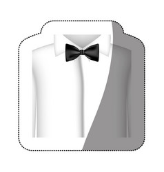 Color sticker shirt with bow tie icon vector