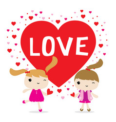 love girl cute cartoon character vector image vector image