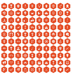 100 trophy and awards icons hexagon orange vector