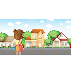 A girl with bag across the neighborhood vector