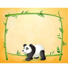 A panda and the empty green frame vector image