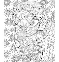 Adult coloring bookpage a cute otter image for vector