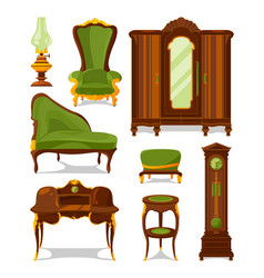 Antique furniture in cartoon style vector