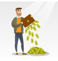 Bankrupt shaking out money from his briefcase vector image