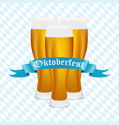 beer at oktoberfest in the bavarian background vector image