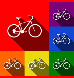 bicycle bike sign set of icons with flat vector image