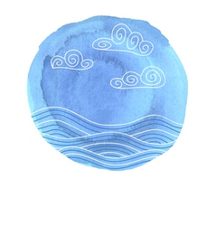 Blue watercolor blot with sea drawing vector image